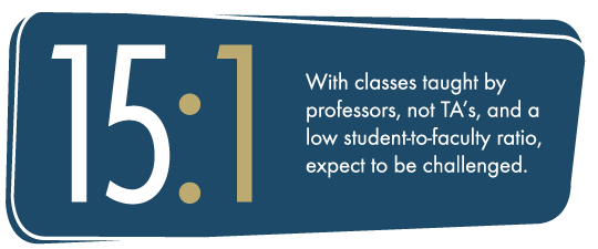 17:1 With classes taught by professors, not TA's, and a low student-to-faculty ratio, expect to be challenged.