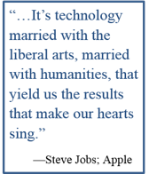 It's technology married with the liberal arts, married with humanities, that yield us the results that make our hearts sing. - Steve Jobs: Apple