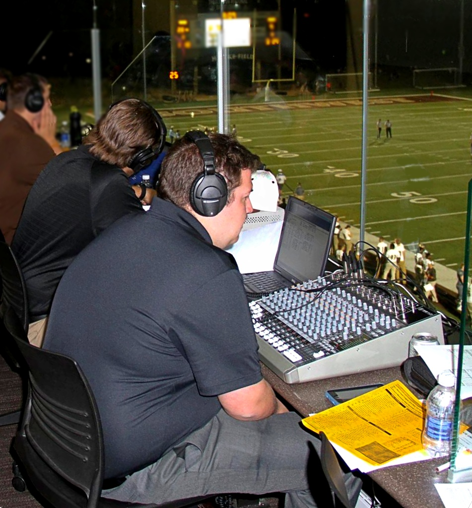 Working in the press booth at the Regional Events Center (REC)