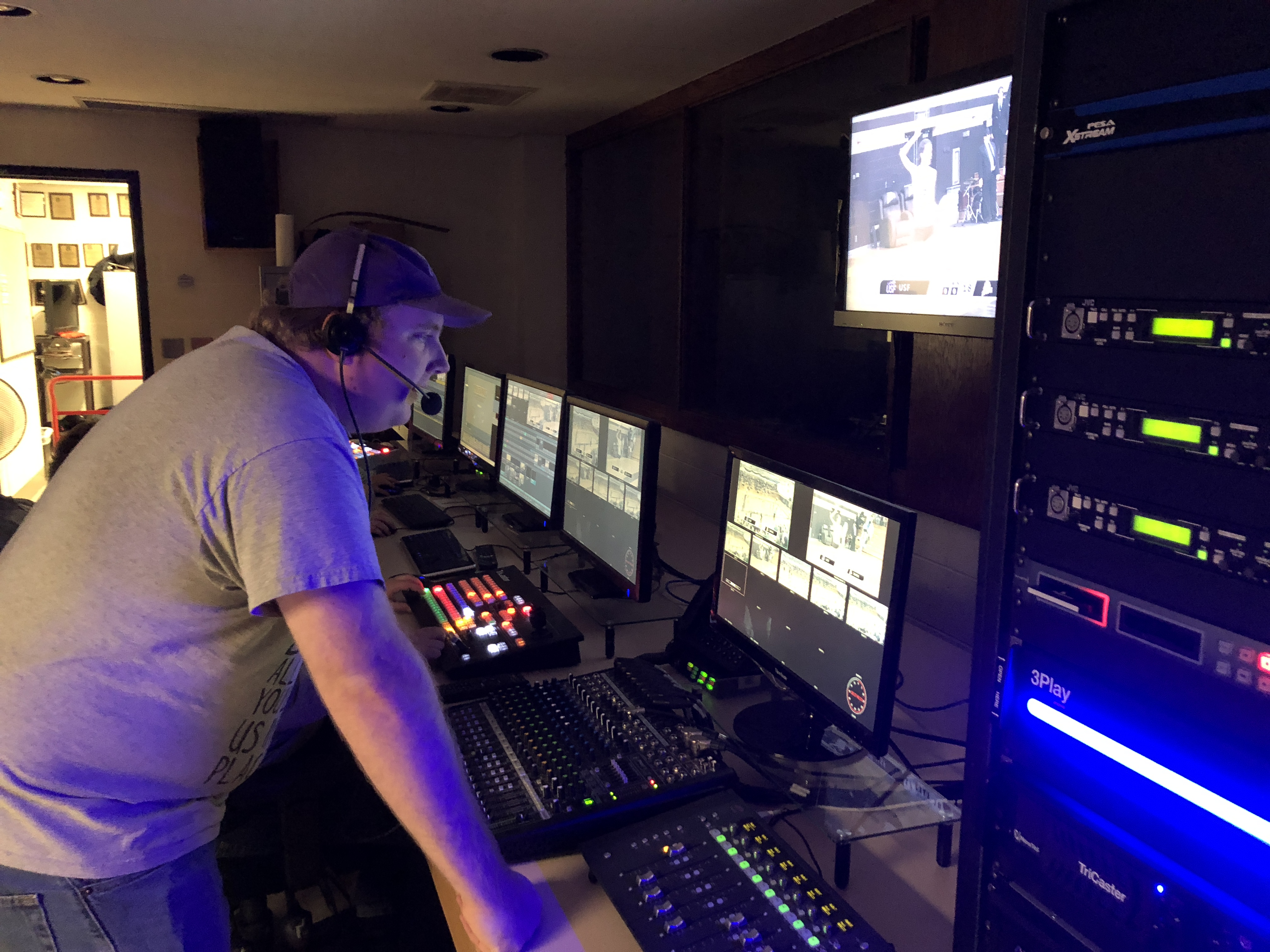 Nick Dahloff directing the Oct. 31, 2017 volleyball production from the control room