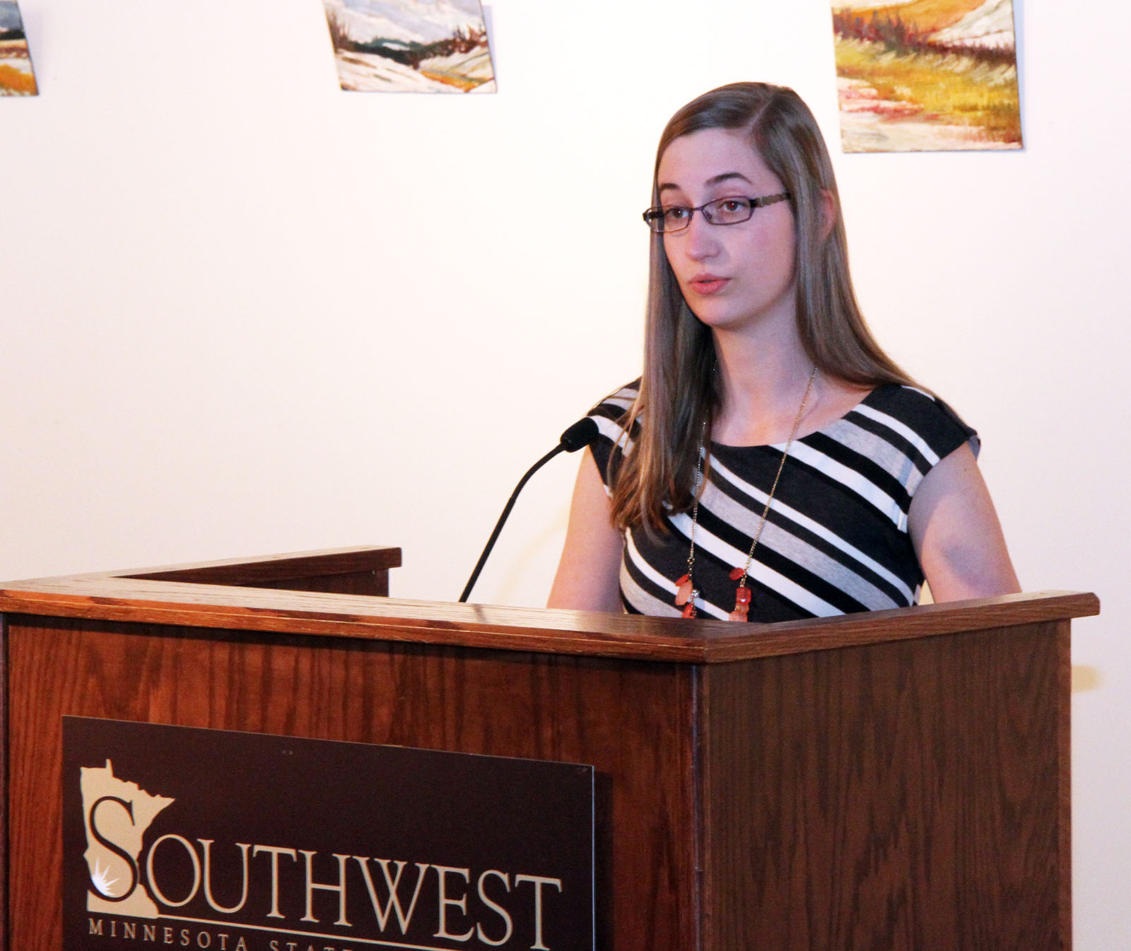 William Whipple scholarship winner Rita Fonder delivers a talk at the Whipple Luncheon