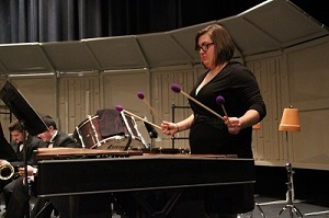 Meghan playing marimba