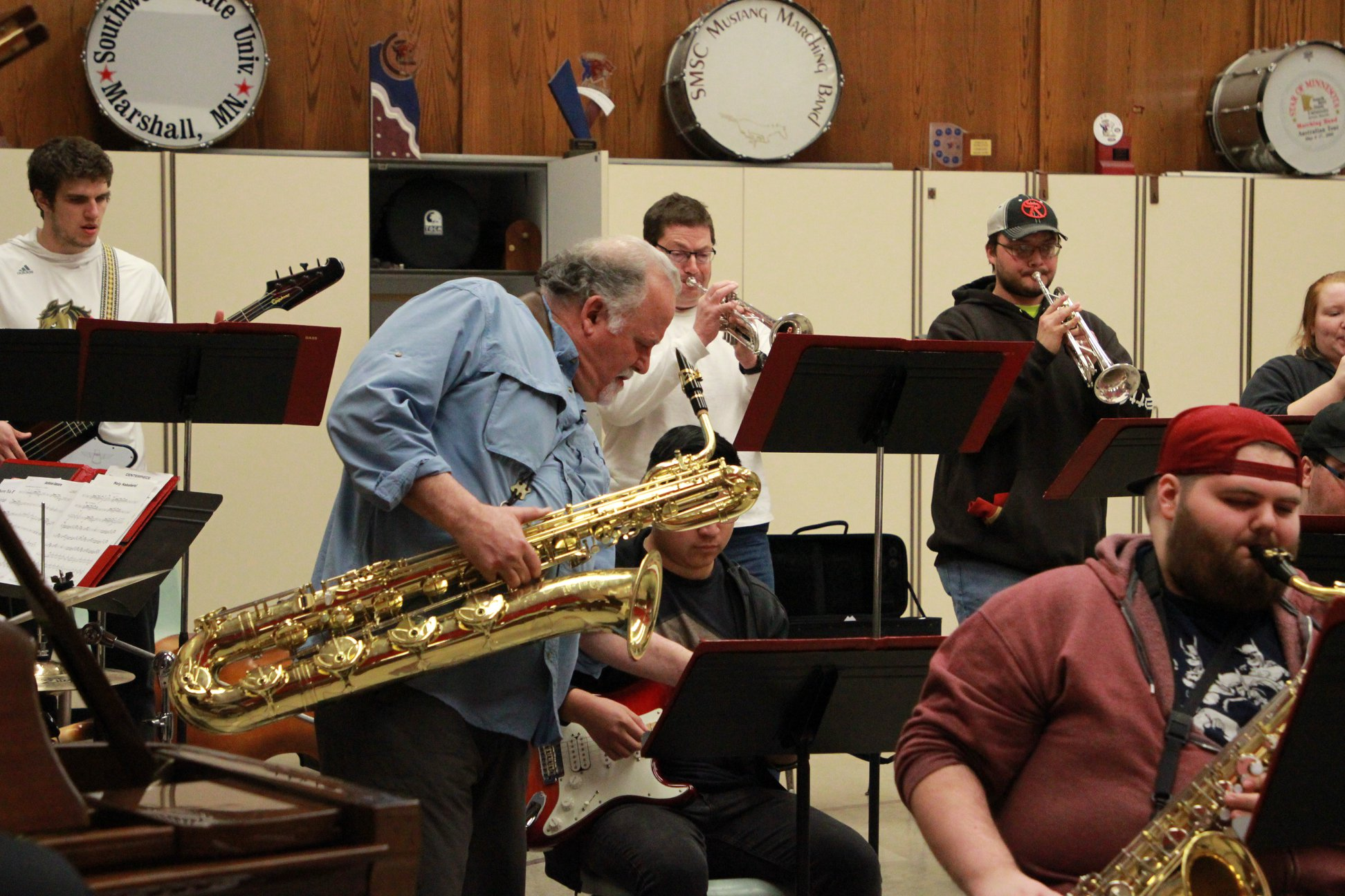 DiBlasio rehearses with the SMSU Jazz Ensemble