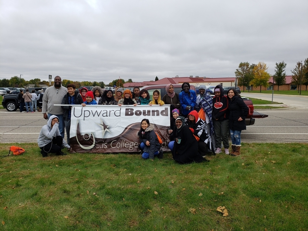 UB Students with the Upward Bound Banner for Homecoming at SMSU