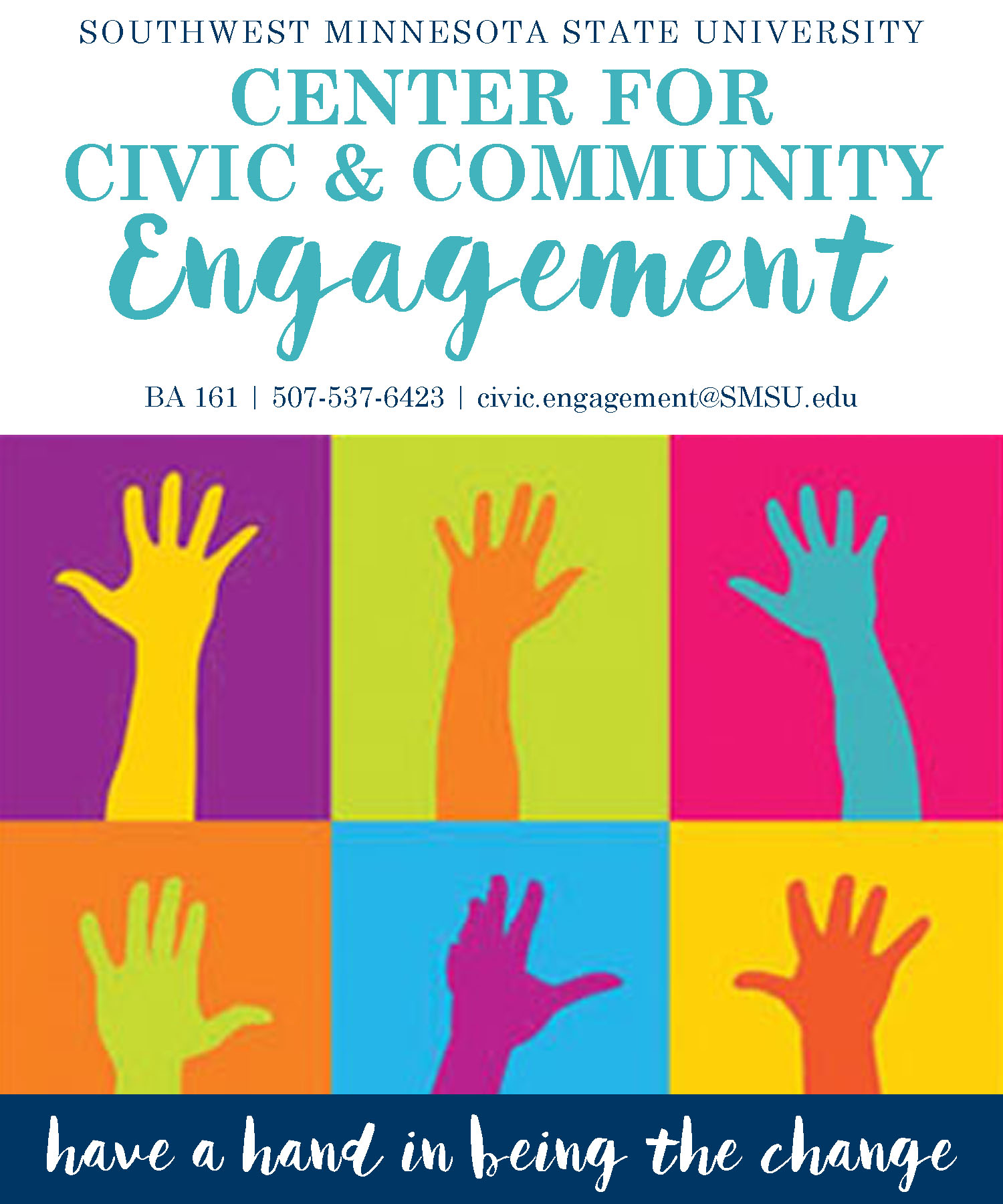 Civic Engagement logo multiple hands raised in air