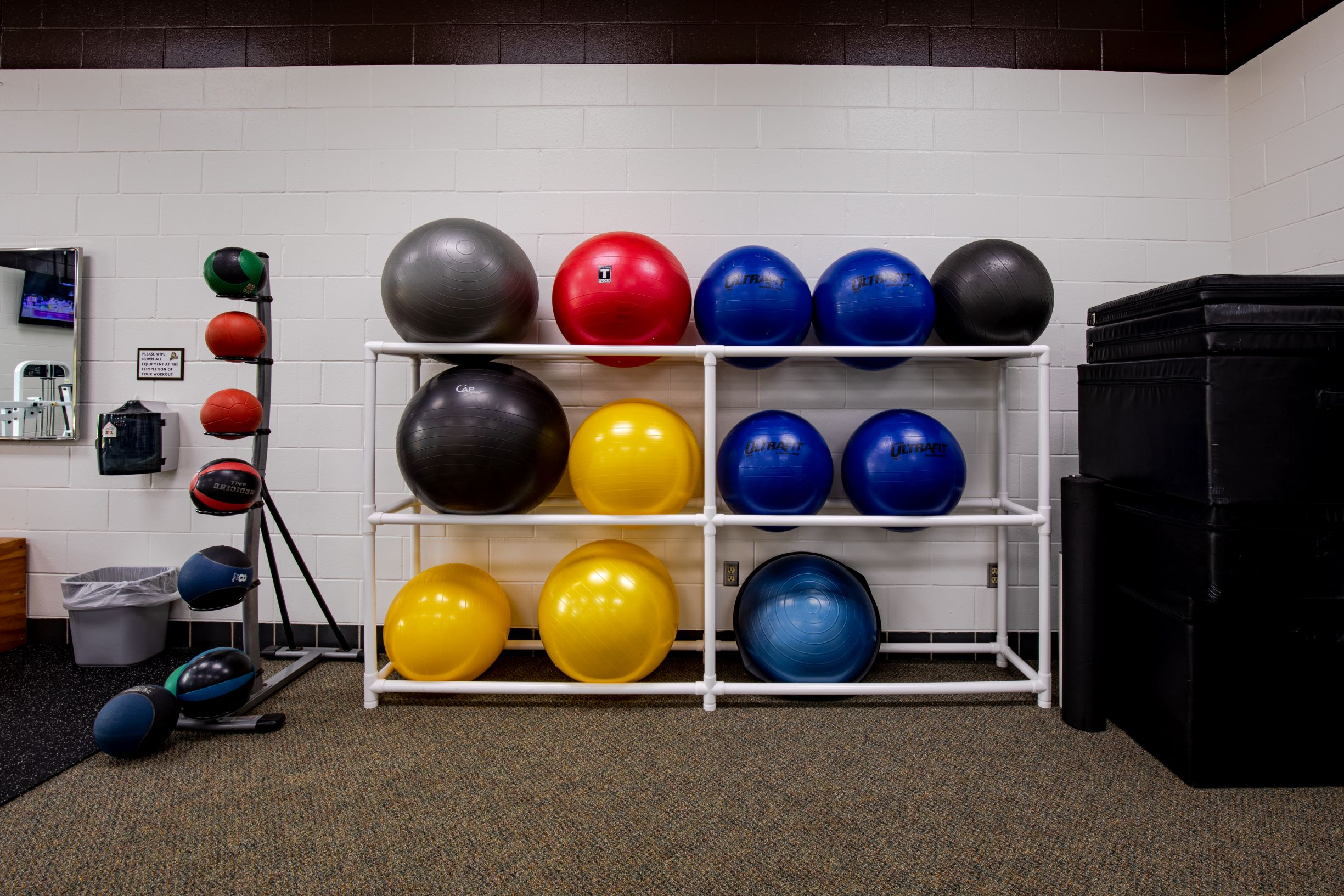 Exercise balls rack image