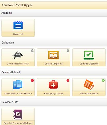 Image of Student Portal Apps icons from SMSU Southwest Net
