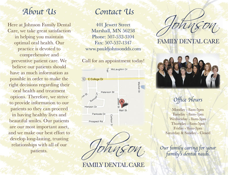 Johnson Family Dental Care Brochure Inside