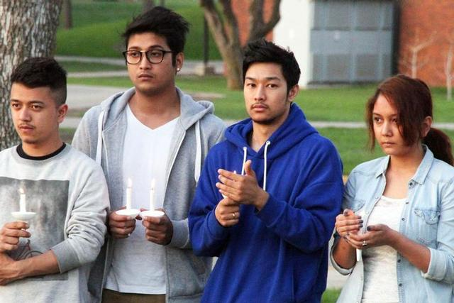 SMSU Nepalese students at a vigil following the initial earthquake.