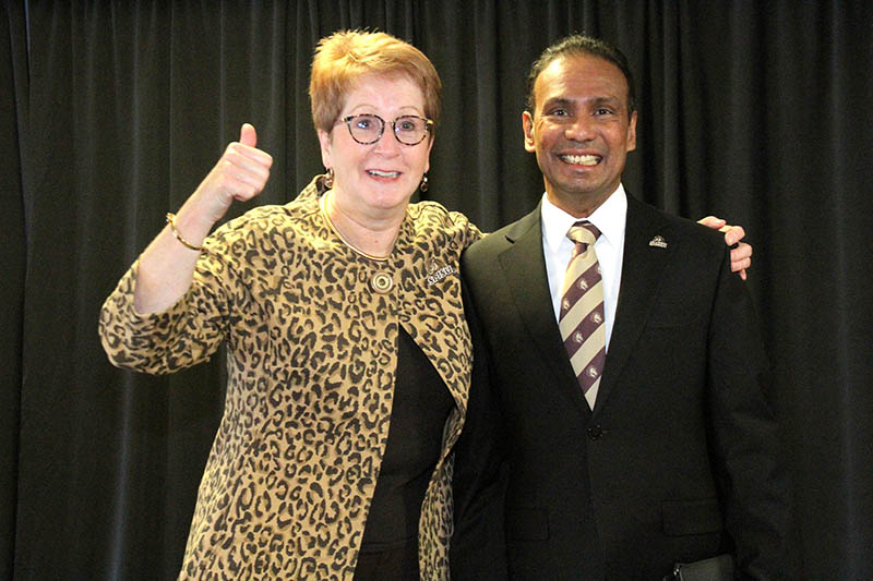 President Connie J. Gores, left, and President-designate Kumara Jayasuriya